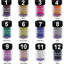12 Colors Velvet nail dust .